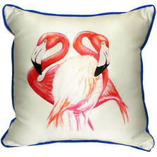 Flamingo Pair Indoor Outdoor Pillow 22x22 | Betsy Drake | BDZP384