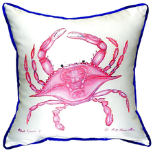 Pink Crab Indoor Outdoor Pillow 22x22 | Betsy Drake | BDZP102