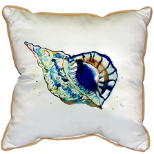 Blue Conch Shell Indoor Outdoor Pillow 22x22 | Betsy Drake | BDZP606