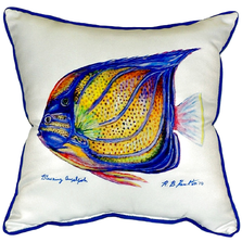 Blue Ring Angelfish Indoor Outdoor Pillow 22x22 | Betsy Drake | BDZP677