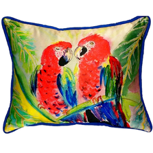Parrot Pair Indoor Outdoor Pillow 20x24 | Betsy Drake | BDZP317
