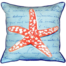 Coral Starfish French Blue Indoor Outdoor Pillow 22x22 | Betsy Drake | BDZP091B