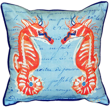 Coral Seahorse French Blue Indoor Outdoor Pillow 22x22 | Betsy Drake | BDZP100B