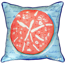 Coral Sand Dollar French Blue Indoor Outdoor Pillow 22x22 | Betsy Drake | BDZP092B