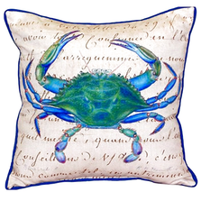 Blue Crab French Beige Indoor Outdoor Pillow 22x22 | Betsy Drake | BDZP005B