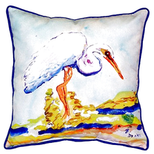 White Egret Indoor Outdoor Pillow 22x22 | Betsy Drake | BDZP176
