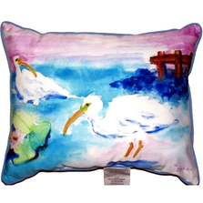 White Ibis Pair Indoor Outdoor Pillow 20x24 | Betsy Drake | BDZP379