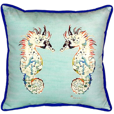 Seahorse Teal Indoor Outdoor Pillow 22x22 | Betsy Drake | BDZP388C