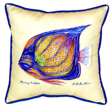 Blue Ring Angelfish Yellow Indoor Outdoor Pillow 22x22 | Betsy Drake | BDZP677C