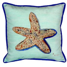 Starfish Teal Indoor Outdoor Pillow 22x22 | Betsy Drake | BDZP604C