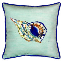 Blue Conch Shell Teal Indoor Outdoor Pillow 22x22 | Betsy Drake | BDZP606C