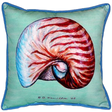 Nautilus Teal Indoor Outdoor Pillow 22x22 | Betsy Drake | BDZP118C