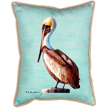 Pelican Teal Indoor Outdoor Pillow 20x24 | Betsy Drake | BDZP035C