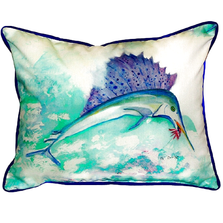 Sailfish Teal Indoor Outdoor Pillow 20x24 | Betsy Drake | BDZP006