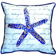 Starfish French Blue Indoor Outdoor Pillow 22x22 | Betsy Drake | BDZP991