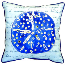 Sand Dollar French Blue Indoor Outdoor Pillow 22x22 | Betsy Drake | BDZP989