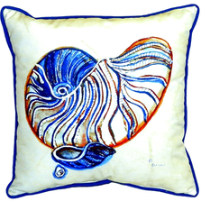 Nautilus Blue Indoor Outdoor Pillow 22x22 | Betsy Drake | BDZP307