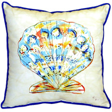 Teal Scallop Shell Indoor Outdoor Pillow 22x22 | Betsy Drake | BDZP304