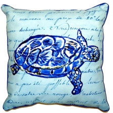 Sea Turtle French Blue Indoor Outdoor Pillow 22x22 | Betsy Drake | BDZP344