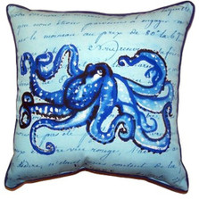 Octopus French Blue Indoor Outdoor Pillow 22x22 | Betsy Drake | BDZP534