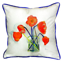Poppy Vase Indoor Outdoor Pillow 22x22 | Betsy Drake | BDZP191
