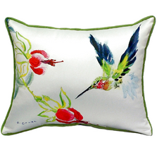 Hummingbird Flower Indoor Outdoor Pillow 20x24 | Betsy Drake | BDZP330