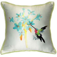 Hummingbird Floral Indoor Outdoor Pillow 22x22 | Betsy Drake | BDZP331