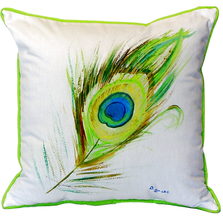 Peacock Feather Indoor Outdoor Pillow 22x22 | Betsy Drake | BDZP759