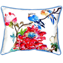 Camellia and Bluebird Indoor Outdoor Pillow 20x24 | Betsy Drake | BDZP425
