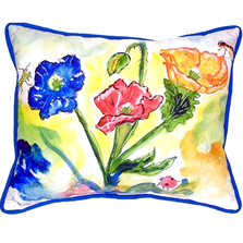Poppy with Bugs Indoor Outdoor Pillow 20x24 | Betsy Drake | BDZP513