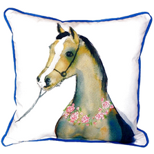Horse and Garland Indoor Outdoor Pillow 22x22 | Betsy Drake | BDZP132