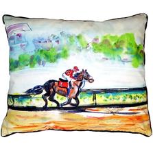 Race Horse Scene Indoor Outdoor Pillow 20x24 | Betsy Drake | BDZP313