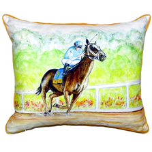 Horse and Jockey Indoor Outdoor Pillow 20x24 | Betsy Drake | BDZP341