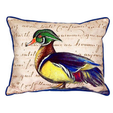 Wood Duck Male Indoor Outdoor Pillow 20x24 | Betsy Drake | BDZP145B