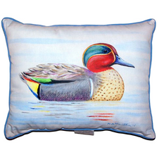 Green Wing Teal Duck Indoor Outdoor Pillow 20x24 | Betsy Drake | BDZP335