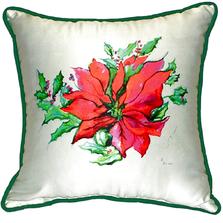 Poinsettia Indoor Outdoor Pillow 22x22   Betsy Drake   BDZP901