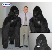 Silver Back Gorilla Life-Sized Stuffed Animal | Plush Gorilla Statue | Hansa Toys | HTU4325