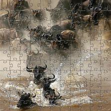 "Wildebeest Artisanal Wooden Jigsaw Puzzle | ""Crossing the Mara"" | Zen Art & Design | ZADWILDEBEESTCTM"