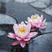 Lotus Blossom Artisanal Wooden Jigsaw Puzzle | Zen Art & Design | ZADLOTUSB