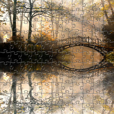 Misty Autumn Bridge Artisanal Wooden Jigsaw Puzzle | Zen Art & Design | ZADMISTYBRIDGE