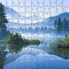 Morning Mountain Mist Artisanal Wooden Jigsaw Puzzle | Zen Art & Design | ZADMORNMIST