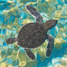 Mosaic Sea Turtle Artisanal Wooden Jigsaw Puzzle | Zen Art & Design | ZADMSEATURTLE