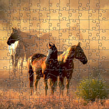 Horse Artisanal Wooden Jigsaw Puzzle | Peaceful Gathering | Zen Art & Design | ZADHORSEPG