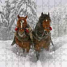Horse Artisanal Wooden Jigsaw Puzzle | Sleigh Ride | Zen Art & Design | ZADHORSESLEIGH
