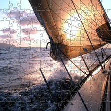 Sailboat Artisanal Wooden Jigsaw Puzzle | Sunrise Sail | Zen Art & Design | ZADSUNRISESAIL