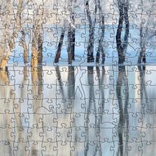 Winter Lake Artisanal Wooden Jigsaw Puzzle   Zen Art & Design   ZADWINTERLAKE