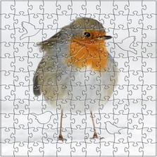 Winter Robin Artisanal Wooden Jigsaw Puzzle | Zen Art & Design | ZADWINTERROBIN
