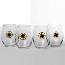Compass Rose Stemless Wine Glass Set | Richard Bishop | 2079COM