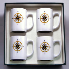 Compass Rose Porcelain Coffee Mug Set | Richard Bishop | 5034COM