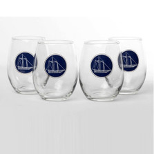 Sailboat Stemless Wine Glass Set | America's Cup | Richard Bishop | 2079AME
